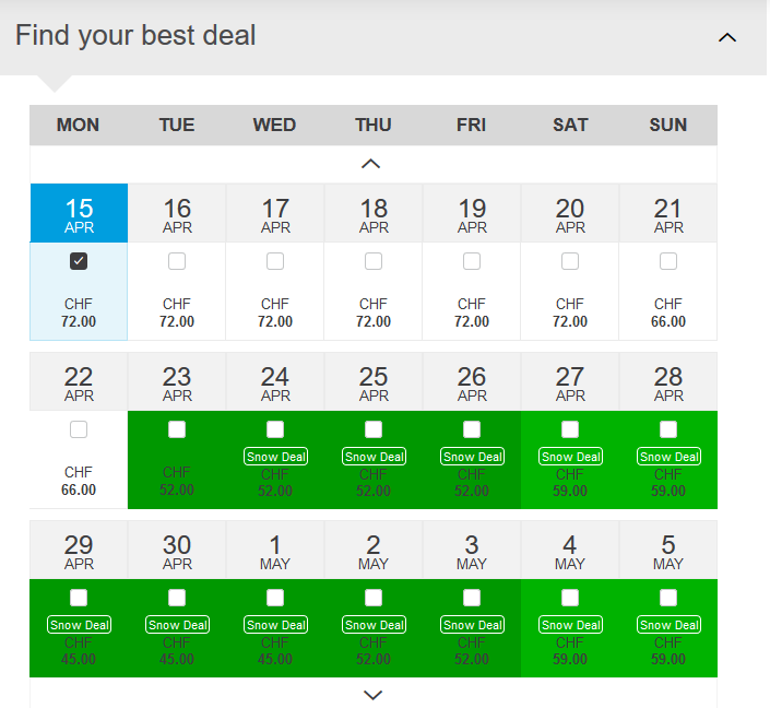 St Moritz Pricing Calendar